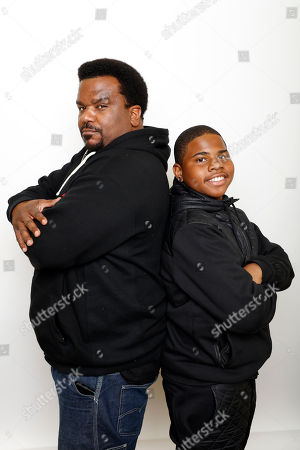 """Actors Craig Robinson, left, and Markees Christmas pose for a portrait to promote the film, """"Morris From America"""", at the Toyota Mirai Music Lodge during the Sundance Film Festival on in Park City, Utah"""