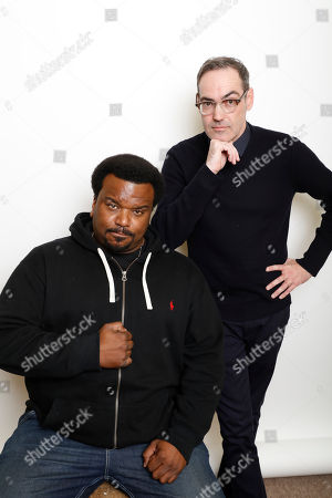 """Actor Craig Robinson, left, and filmmaker Chad Hartigan pose for a portrait to promote the film, """"Morris From America"""", at the Toyota Mirai Music Lodge during the Sundance Film Festival on in Park City, Utah"""