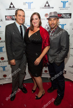 Actor, ensemble member and co-host Michael Shannon with A Red Orchid Theatre's Artistic Director Kirsten Fitzgerald and Rockit Ranch Production's and co-host Billy Dec at A Red Orchid Theatre's 20th Anniversary Gala at Rockit Ranch Production's Underground, in Chicago