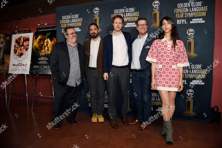 """Stock Picture of The directors of the five films nominated for the Golden Globe Best Foreign Language Film, left to right, Jaco Van Dormael of """"The Brand New Testament,"""" Pablo Larrain of """"The Club,"""" Laszlo Nemes of """"Son of Saul,"""" Klaus Haro of """"The Fencer,"""" and Deniz Gamze Erguven of """"Mustang"""" pose together at the Golden Globe Foreign-Language Film Symposium at the Egyptian Theatre, in Los Angeles"""