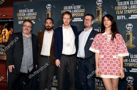 """The directors of the five films nominated for the Golden Globe Best Foreign Language Film, left to right, Jaco Van Dormael of """"The Brand New Testament,"""" Pablo Larrain of """"The Club,"""" Laszlo Nemes of """"Son of Saul,"""" Klaus Haro of """"The Fencer,"""" and Deniz Gamze Erguven of """"Mustang"""" pose together at the Golden Globe Foreign-Language Film Symposium at the Egyptian Theatre, in Los Angeles"""