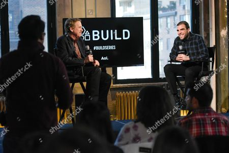 """Actor Zachary Quinto, right, chats with moderator Peter Travers during AOL's BUILD Speaker Series to discuss his new television show """"The Slap,"""" at AOL Studios, in New York"""