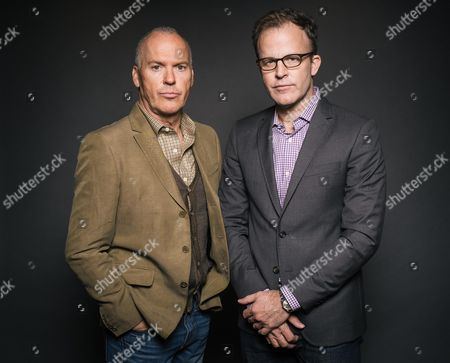 """Actor Michael Keaton, left, and writer/director Thomas McCarthy pose for a portrait during press day for """"Spotlight"""" at The Four Seasons, in Los Angeles. The movie opens in U.S. theaters on Friday, Nov. 6, 2015"""