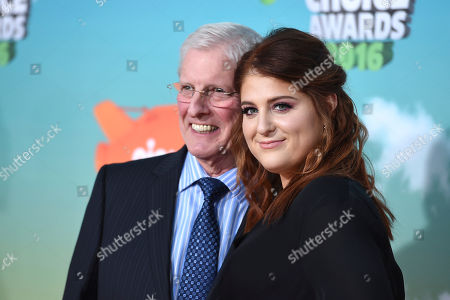 Gary Trainor, left, and Meghan Trainor arrive at the Kids' Choice Awards at The Forum, in Inglewood, Calif