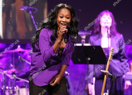"""Stock Image of Priscilla Renea performs Prince's """"Purple Rain"""" during an In Memoriam tribute at the 33rd annual ASCAP Pop Music Awards at the Dolby Ballroom, in Los Angeles"""