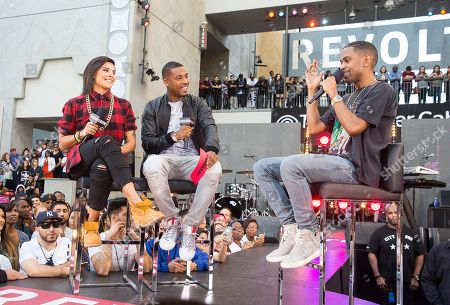 Stock Image of Hannah Rad and DJ Damage interview Big Sean during REVOLT Live's Big Sean Takeover at Hollywood and Highland on in Los Angeles