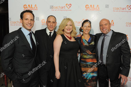 From left, Zander Lurie, Nestor Serrano, Katrina Parker, Leah Bernthal, and Dean Norris arrive at the CoachArt Gala of Champions held at The Beverly Hilton, in Beverly Hills, Calif