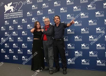 Stock Image of Director Marco Bellocchio, center, and actors Pier Giorgio Bellocchio, right, and Elena Bellocchio pose during the photo call for the film Sangue Del Mio Sangue (Blood of my blood) at the 72nd edition of the Venice Film Festival in Venice, Italy, . The 72nd edition of the festival runs until Sept. 12