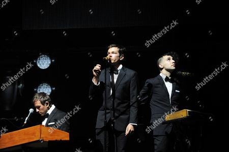 Andrew Dost, Nate Ruess, Jack Antonoff of Fun performing at Verizon Wireless Amphitheatre, in Atlanta