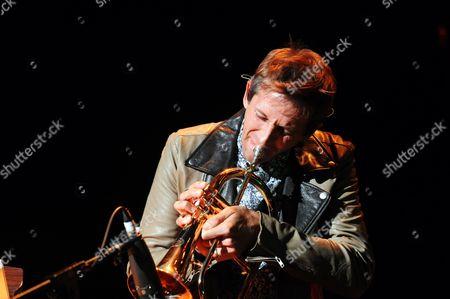 Andrew Dost of Fun performing at Verizon Wireless Amphitheatre, in Atlanta
