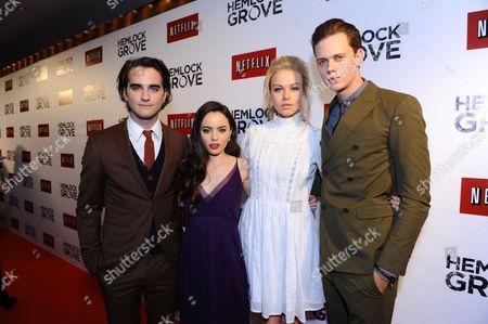 From left, Landon Liboiron, Freya Tingley, Penelope Mitchell, and Bill Skarsgard arrive at the Hemlock Grove North America premiere for Netflix, in Toronto