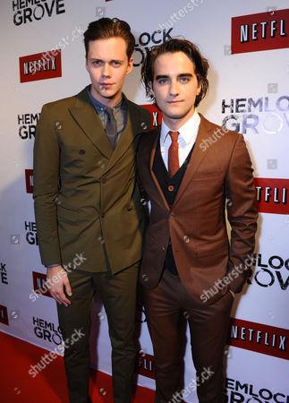 Bill Skarsgard, left, and Landon Liboiron arrive at the Hemlock Grove North America premiere for Netflix, in Toronto