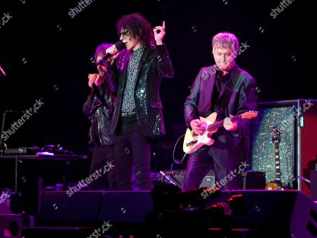 Magic Dick, Peter Wolf and Duke Levine of the J. Geils Band performs in concert as the band opens for Bob Seger at the Arena at Gwinnett Center, in Duluth, Ga