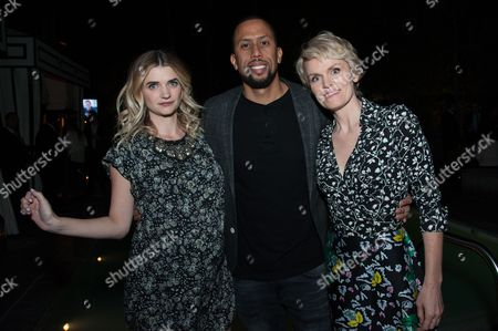 """Megan Ferguson, from left, Affion Crockett, and Stephnie Weir attend the After Party for the LA Premiere of FX's """"The Comedians"""", in Santa Monica, Calif"""