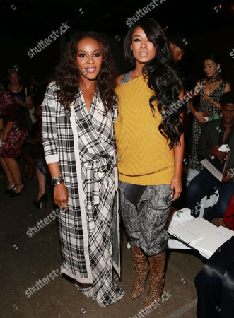 June Ambrose and Mila J are seen at MBFW Spring/Summer 2015 Tracy Reese fashion show at Artbeam, in New York