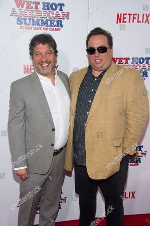 "Jonathan Stern, left, and Peter Principato attend the premiere of Netflix's new original series, ""Wet Hot American Summer: First Day of Camp"", at the SVA Theater, in New York"
