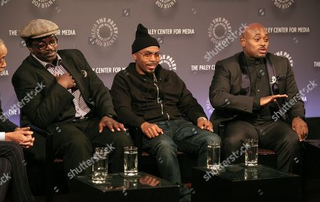 """From left, recording artists Fab Five Freddy and Nas, and author Steve Stoute attend a screening of """"The Tanning of America: One Nation Under Hip Hop"""" on in New York"""