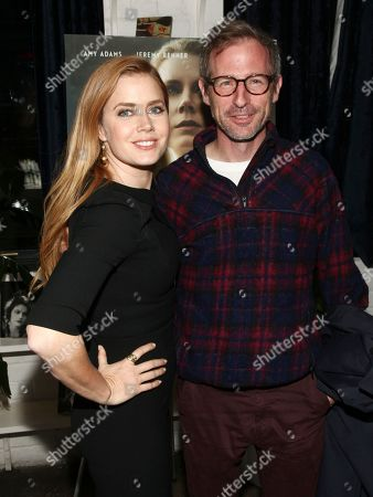 """Amy Adams, left, and Spike Jonze, right, attend a special screening of """"Arrival"""" at Metrograph, in New York"""