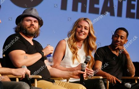 "Tyler Labine, Cat Deeley, and Brandon Jackson, from left, discuss their new Hulu series ""Deadbeat"" during the SXSW Film Festival, in Austin, Texas"