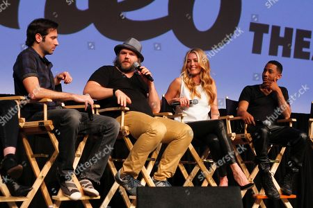 "Brett Konner, Tyler Labine, Cat Deeley and Brandon Jackson from, left, discuss their new Hulu series ""Deadbeat"" during the SXSW Film Festival, in Austin, Texas"