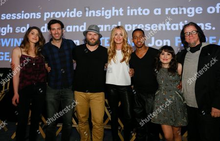 "Cody Heller, Brett Konner, Tyler Labine, Cat Deeley, Brandon Jackson, Lucy DeVito and director Troy Miller attend the world premiere of their new Hulu series ""Deadbeat"" during the SXSW Film Festival, in Austin, Texas"