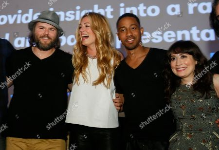 "Tyler Labine, Cat Deeley, Brandon Jackson and Lucy DeVito, from left, attend the world premiere of their new Hulu series ""Deadbeat"" during the SXSW Film Festival, in Austin, Texas"