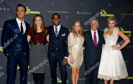 "Cheyenne Jackson, left, Alicia Silverstone, Daniel Breaker, Jenni Barber, Henry Winkler and Ari Graynor appear at the after party for the opening night performance of the Broadway play ""The Performers"" on in New York"