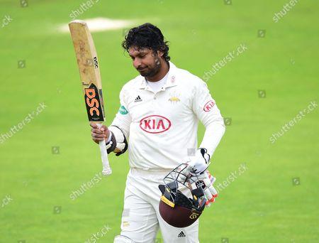 Kumar Sangakkara leaves the field for the last time