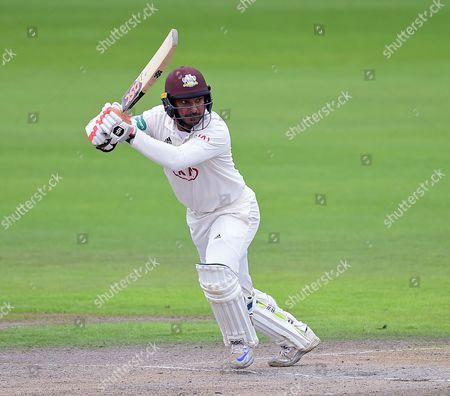 Kumar Sangakkara hits a boundary in his final innings