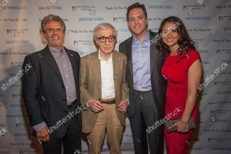 Stock Image of From left, Ronald L. Chez, Woody Allen, Michael P. Rose and Monica Rose seen at the Magic In The Moonlight screening, on in Chicago