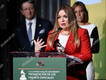 Stock Image of Honoree Ednita Nazario addresses the audience at the 2016 Latin Grammy Special Merit Awards at the Four Seasons Hotel, in Las Vegas