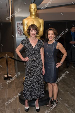 """Dana Perry, left, and Ellen Goosenberg Kent arrive at the 87th Academy Awards - """"Documentaries"""" at the Samuel Goldwyn Theatre, in Beverly Hills, Calif"""