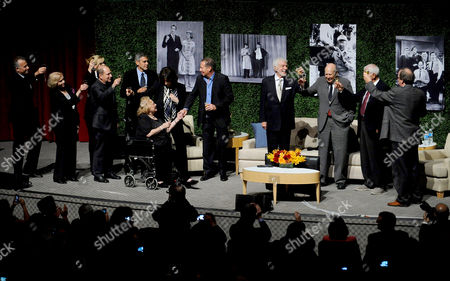 "Stock Picture of OCTOBER 13: (L-R) Actors Paul Reiser, Eva Marie Saint, Bonnie Hunt, Larry Matthews, George Clooney, Rose Marie, Lily Tomlin, Garry Shandling, Dick Van Dyke, honoree Carl Reiner, writer Bill Persky and moderator Pete Hammond onstage at the Academy of Television Arts & Sciences Presents: ""An Evening Honoring Carl Reiner"" at the Leonard H. Goldenson Theatre on in North Hollywood, California"