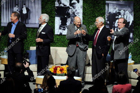 "OCTOBER 13: (L-R) Actors Garry Shandling, Dick Van Dyke, honoree Carl Reiner, writer Bill Persky and moderator Pete Hammond speak onstage at the Academy of Television Arts & Sciences Presents: ""An Evening Honoring Carl Reiner"" at the Leonard H. Goldenson Theatre on in North Hollywood, California"