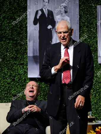 "OCTOBER 13: (L-R) Actor Larry Matthews and writer Bill Persky speak onstage at the Academy of Television Arts & Sciences Presents: ""An Evening Honoring Carl Reiner"" at the Leonard H. Goldenson Theatre on in North Hollywood, California"