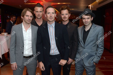 The Feeling. paul stewart, Ciaran Jeremiah, Dan Gillespie Sells, Richard Jones and Kevin Jeremiah are seen at the Arqiva Commercial Radio Awards in London on