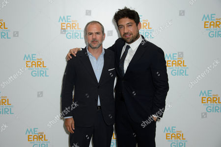 From left, Producer Jeremy Dawson and Director Alfonso Gomez-Rejon pose for photographers at theUK Premiere of Me and Earl and the Dying Girl at a central London venue, London