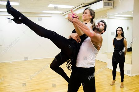 """Â?oeDancing with the Starsâ?? professional dancers Karina Smirnoff and Maksim Chmerkovskiy rehearse in front of cast member Victoria Galoto for the upcoming Broadway show """"Forever Tango"""" on in New York"""