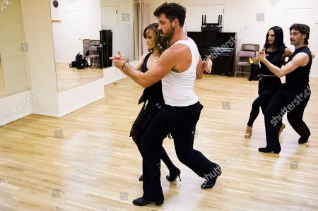 """Dancing with the Stars professional dancers Karina Smirnoff and Maksim Chmerkovskiy, left, rehearse with cast members Victoria Galoto and Juan Horvath for the upcoming Broadway show """"Forever Tango"""" on in New York"""