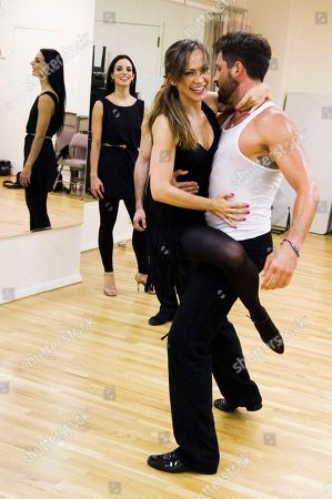 """Dancing with the Stars professional dancers Karina Smirnoff and Maksim Chmerkovskiy rehearse in front of cast member Victoria Galoto for the upcoming Broadway show """"Forever Tango"""" on in New York"""
