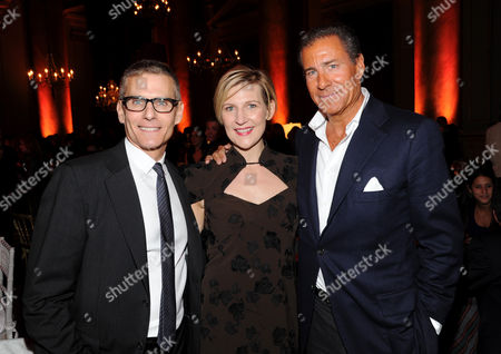 """HBO programming president, Michael Lombardo, left, Sue Naegle, HBO Entertainment president, and HBO CEO Richard Plepler attend the HBO """"Girls"""" premiere after party at Capitale on in New York"""