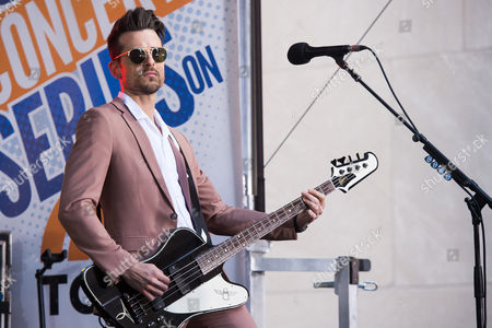 """Jared Followill from the band Kings of Leon performs on NBC's """"Today"""" show at Rockefeller Plaza, in New York"""