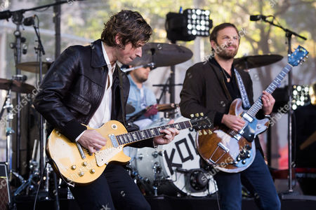 """Matthew Followill, from left, Nathan Followill and Caleb Followill from the band Kings of Leon perform on NBC's """"Today"""" show at Rockefeller Plaza, in New York"""