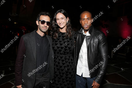 Alex Israel, Bettina Korek and Larry Jackson attend LAXART at Greystone Mansion on in Beverly Hills, California