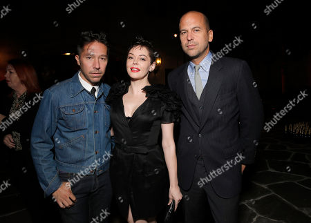 Brian Wolk, Rose McGowan, and Claude Morais attends LAXART at Greystone Mansion on in Beverly Hills, California