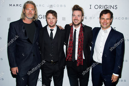 "Stock Picture of Hunter Gray, left, Michael Pitt, Mike Cahill and Alex Orlovsky attend the premiere of ""I Origins"" on in New York"