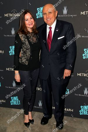 """Judith Giuliani, left, and former New York mayor Rudy Giuliani, right, attend the premiere of """"Sing Street"""" at Metrograph, in New York"""