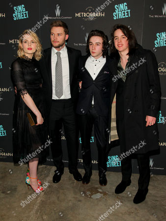 "Lucy Boynton, from left, Jack Reynor, Mark McKenna and Ferdia Walsh-Peelo attend the premiere of ""Sing Street"" at Metrograph, in New York"