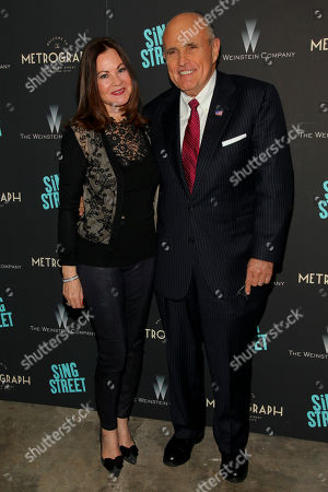 """Judith Giuliani, left, and Rudy Giuliani, right, attend the premiere of """"Sing Street"""" at Metrograph, in New York"""