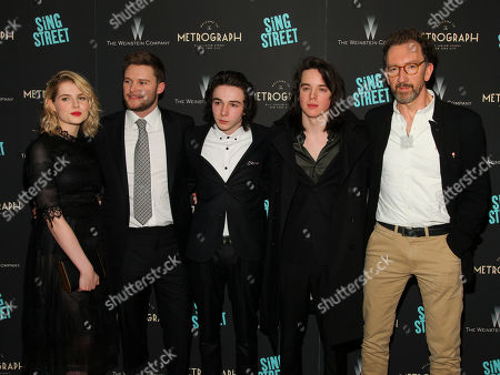 "Lucy Boynton, from left, Jack Reynor, Mark McKenna, Ferdia Walsh-Peelo and John Carney attend the premiere of ""Sing Street"" at Metrograph, in New York"